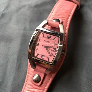 FOSSIL pink and silver leather watch
